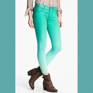 Free People Mint Green Ombre Skinny Ankle Jeans